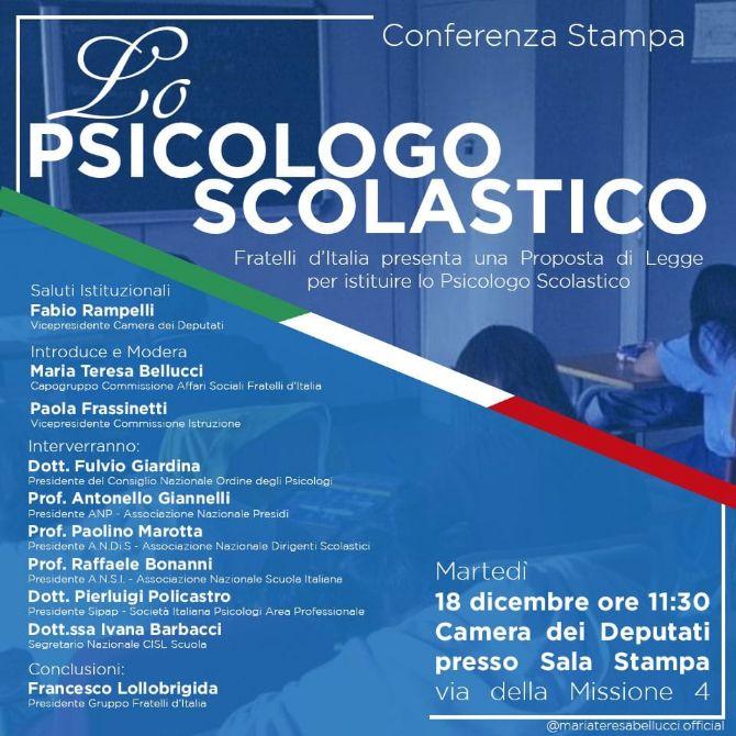 Il 18 dicembre 2018 con la Sipap per L'istituzione dei Servizi di psicologia scolastica